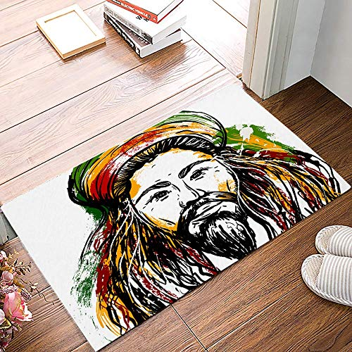 Amanda Walter Indoor Doormat Low Profile Front Door Mat Cartoon Portrait of Jamaica 40x60cm Non Slip Rubber Absorbent Front Door Rug Entrance Dirt Trapper