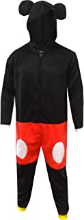 Men's Dress Like Mickey Mouse Onesie Hooded Pajama with Mouse Ears