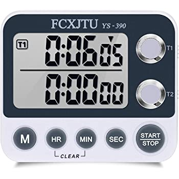 FCXJTU Digital Dual Kitchen Timer, Dual Count UP/Down Timer, Cooking Timer, Stopwatch, Large Display, Adjustable Volume Alarm and Flashing Light with Magnetic Back, Stand, Battery Included (White)