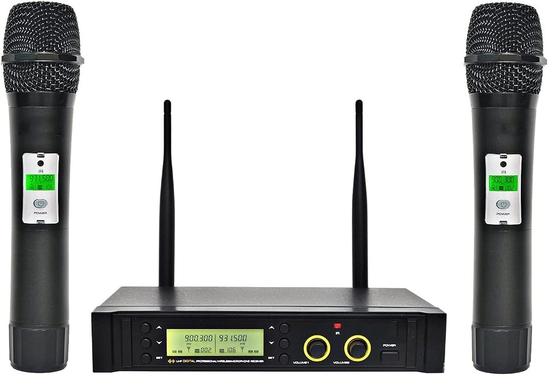 Micrófonos UHF Sistema de micrófono inalámbrico de 2 vías de 100 canales. IR Frecuencia de micrófono inalámbrico Karoke KTV Micrófono dinámico cardioide de fiesta Micrófono Vocal ( Color : EU PLUG )