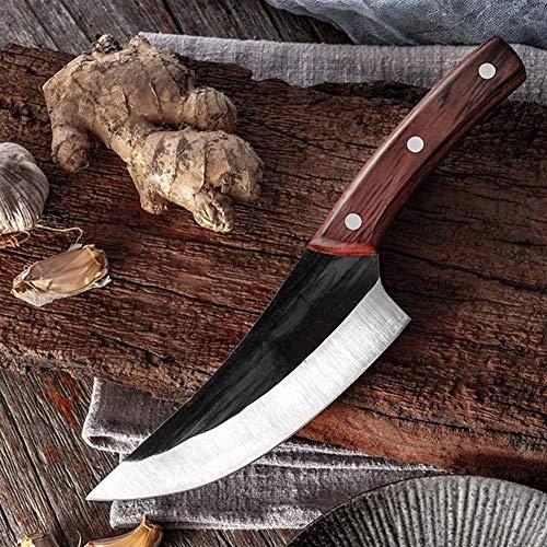 Mrjg Sushi Cuchillo Herramienta de Corte de Cuchillo de Cocina Hechos a Mano de Acero al Carbono Que deshuesa el Cuchillo Forjado Cuchillo de Cocina de Carnicero Vegetal (Color : Without Cover)