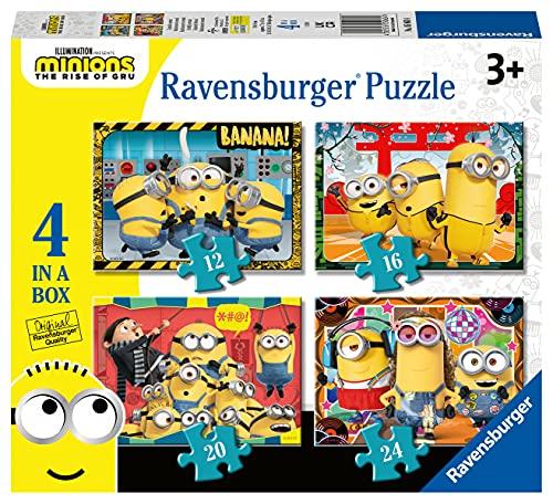 Ravensburger Puzzle Minions, Puzzle 4 in a Box, Età Consigliata 3+, Puzzle per Bambini, Stampa di Alta Qualità, 05060 4