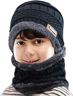 Conjunto de Bufanda Guantes y Gorro de Punto de Invierno para Niños de 2/3 Piezas Gorro de Punto Grueso, Suave y Cálido de Esquí con Forro Polar para Niñas