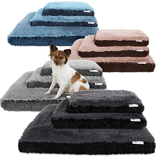 Paws & Pals Dog Bed for Pets & Cats - Fuzzy Foam Deluxe Premium Bedding Cuddler Lounger Two-Toned Design for Home & Crate (Small, Blue)