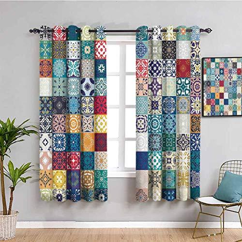 Cortinas de bloqueo de luz marroquí decoración para sala de estar Mega Patchwork patrón con diferentes figuras árabes coloridas originales tunecinas artísticas uso diario multi W63 x L45 pulgadas