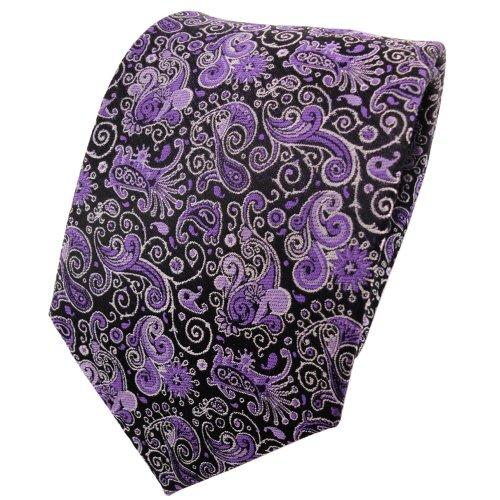 TigerTie Seidenkrawatte violett silber schwarz parsley - Krawatte 100% Seide