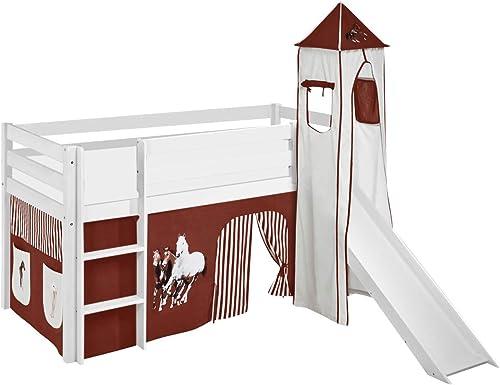 LiloEnfants Lit Mezzanine JELLE Cheveaux-Marron-Beige - Lit d'enfant Blanc Toboggan, Tour Rideau - Lit 90x190 cm