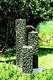 Köhko Springbrunnen Lilienstein 3-teiliger Komplett-Set 20-30-50 cm inkl. LED-Beleuchtung und Pumpe-Becken-Set Gartenbrunnen aus Polyresin in Natursteinoptik
