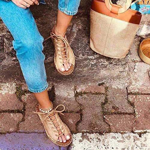 JFFFFWI Sandali Con Zeppa Con cinturino alla caviglia da Donna Punta Aperta Con Lacci regolabile Comfort Platform Infradito Slingback Scarpe estive alla Moda Infradito da gladiatore Casual Beach SCA