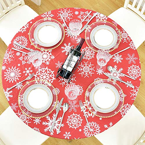 YipuGarden Round Fitted Vinyl Tablecloth with Flannel Backing Elastic Edge Waterproof Plastic Table Cover Tablecloth Tablecover for Outdoor Patio Kitchen and Dining Room Snow Large 45in-56in