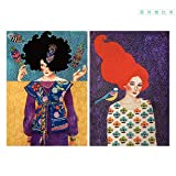XingChen Poster Artworks 2x20x30cm sin Marco Set Mujeres con Cabello Largo Retrato Poster Painting Modern Painting Art Graphic Gift Home Bedroom Decor