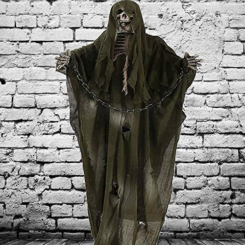 El fantasma de Halloween decoración de cortina de aire libre de interior fiesta de Halloween casa embrujada de 180 cm de ancho juguete grande puntales de terror del mal ( Color : Green With Chain )