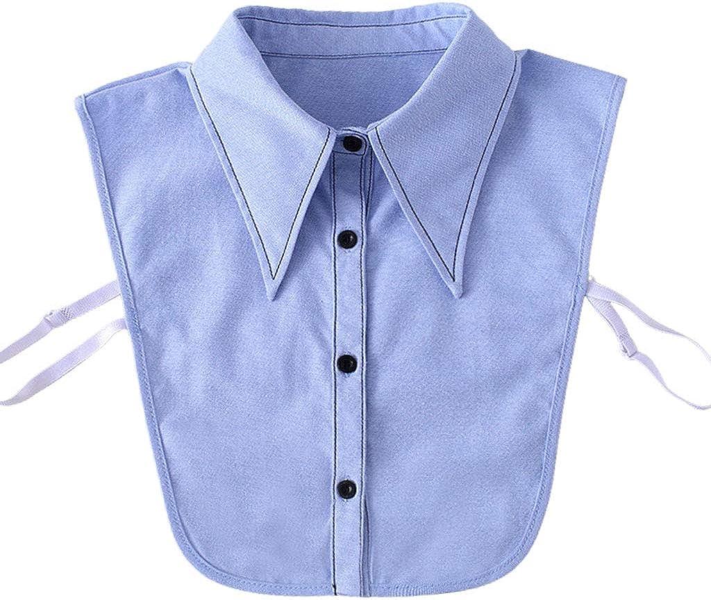 YOUSIKE Detachable Blouse, Women Winter Sweater Decorative False Fake Collar Embroidery Black Trimming Detachable Lapel Half-Shirt Blouse Office Lady Clothing Accessory