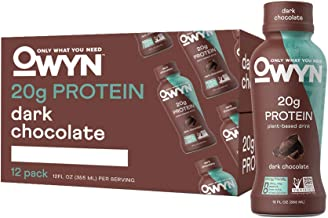 OWYN, Vegan Protein Shake, Dark Chocolate,12 Fl Oz (Pack of 12), 100-Percent Plant-Based, Dairy-Free, Gluten-Free, Soy-Free, Tree Nut-Free, Egg-Free, Allergy-Free, Vegetarian, Kosher …