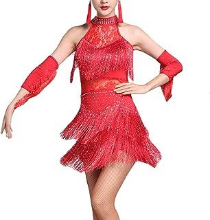 YOUMU Damen lateinisches Tanzkleid Salsa Tango Rumba Cha Cha mit Fransen Ballroom Tanzrock Kostüm