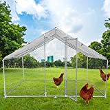 LONABR Outdoor Metal Chicken Coop Large Walk-in Poultry Cage Backyard Hen House with Chicken Run Cover for Farm Home Use 10x6.5x6.5ft