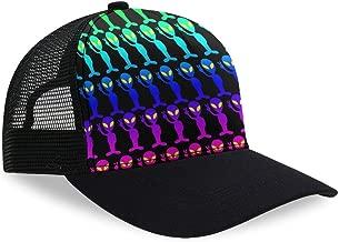 Premium Trucker Cap Modern Summer Urban Style Cap - Adjustable Snapback - Unisex Design - Mesh Back - Funny Rainbow Aliens