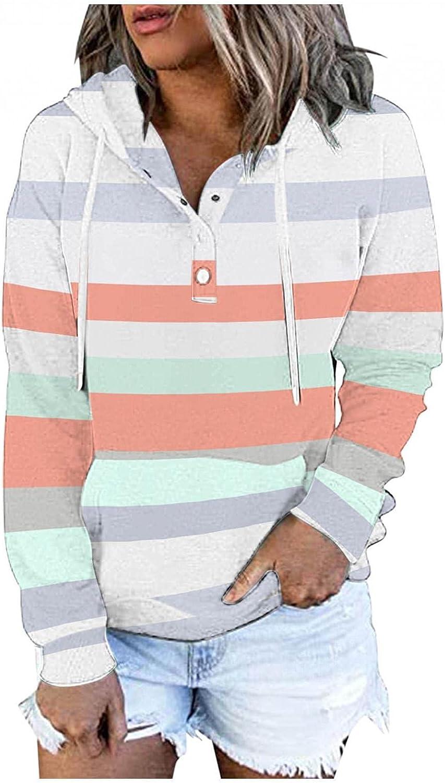 Womens Hoodies,Women Hoodies Pullover Plus Size Aesthetic Fashine with Pockets Graphic Stripe Sweatshirt Coat