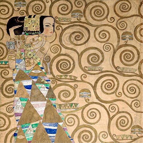 Gustav Klimt L'Espérance 30 x 30 cm cadre impression sur Panneau en bois MDF bord noir
