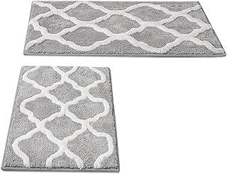 2 Pack Ultra Soft Microfiber Bath Mat, Anti Slip Bath Rug Set, Strong Absorbent, Machine Washable Shower Rugs, Perfect Plu...