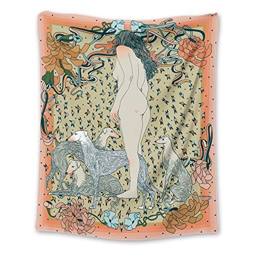 ZDDBD Tapiz de Perro Sentado para Colgar en la Pared, Sala de Estar, Dormitorio M/130X150cm(51'X59')