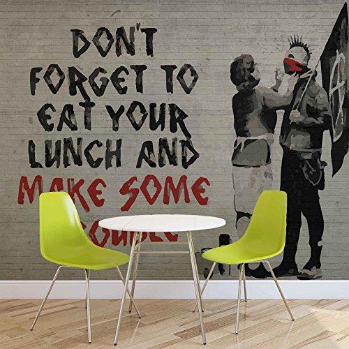 Banksy Graffiti - Forwall - Fototapete - Tapete - Fotomural - Mural Wandbild - (2728WM) - XXXL - 416cm x 254cm - VLIES (EasyInstall) - 4 Pieces