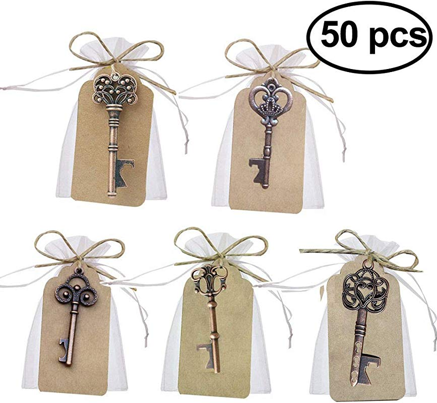GuiHe 50pcs Wedding Favors Skeleton Key Bottle Opener With Escort Tag Card And Twine For Wedding Favors Shiny Decoration Mixed 5 Styles