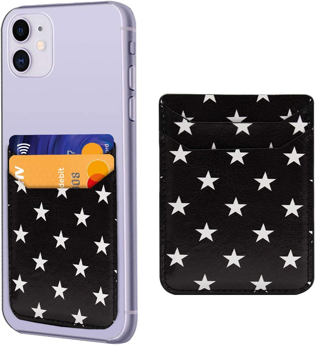 Star Print Phone Credit Card Holder 3M Adhesive Stick on Wallet Case Mate Pocket for Cell Phone