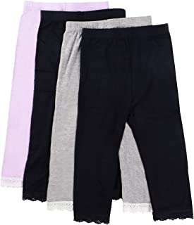 MyKazoe Girls Ultra Soft Seamless Capri Leggings with Lace Trim (Set of 4)