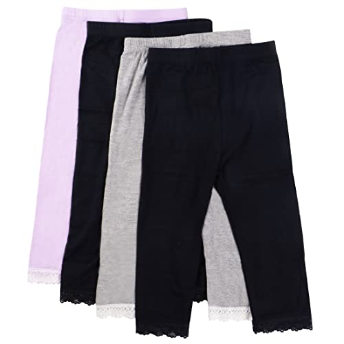 8a4d32fea32b2 MyKazoe Girls Ultra Soft Seamless Capri Leggings With Lace Trim (Set of 4)