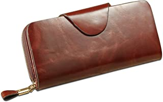 Woman Holder Checkbook Wallet Fashion Large PU Leather Case Pochette Woman Door Long Checkbook Wallet Cowhide Leather Portable Handbag (Color : Coffee)