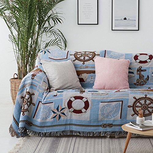 Jonist Funda de sofá Reversible, Antideslizante, a Prueba de Polvo, Todo Incluido, para sofá, Funda Universal, Cubierta Completa, Manta de Alambre, Protector de Muebles, 1 Pieza, Azul, 130x160 cm (