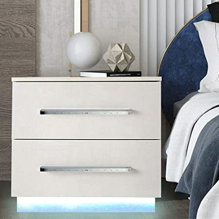 Modern High Gloss Nightstand with LED Light Bedside End Table Bedroom Furniture White with 2 Drawers White