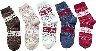 5 Pares De Calcetines Acogedores De Las Mujeres Calcetines De La Vendimia Regalo De Navidad Calcetín De Algodón Colorido
