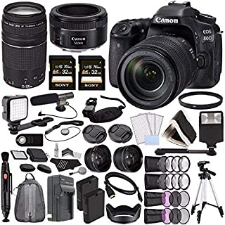 Canon EOS 80D DSLR Camera with 18-135mm Lens + Canon EF 75-300mm f/4-5.6 III Lens + Canon EF 50mm f/1.8 STM Lens + Sony 32...
