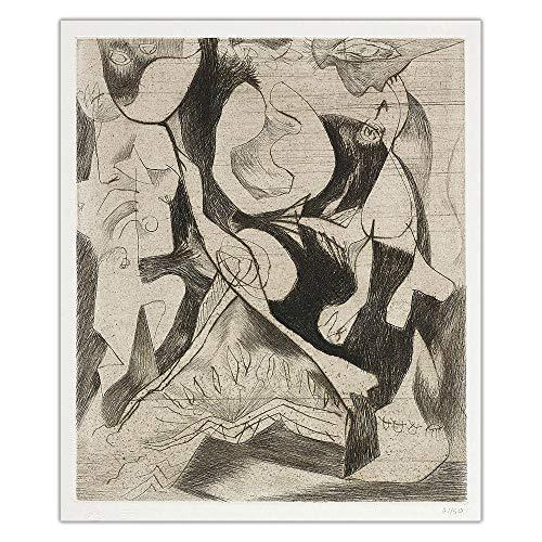 HJKLP Jackson Pollock《Espressionismo Astratto》Famosa Arte della Parete Astratta Poster Stampe su Tela Quadri Decorazioni della Parete Decorazioni della Casa Quadro 40x50cm Senza Cornice
