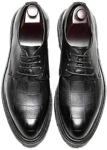 L.W.SUSL Chaussures en Cuir PU pour Hommes Chaussures Classiques à Lacets Mocassins Foursquare Texture Strong Outsole Oxford des Chaussures (Couleur   Noir, Taille   8MUS)