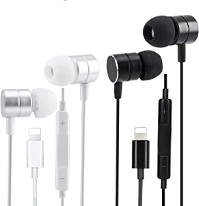 Apple MFi Certified Headphones Wired Stereo Sound Earbuds Earphones with Microphone and Volume Control,Isolation Noise Compatible with Lightning Apple 14/13/12/11 All iOS Systems(Black+White 2 Pairs)