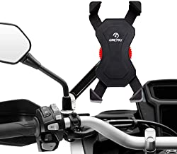 Grefay Motorcycle Phone Mount Universal Cell Phone Holder for Rearview Mirror Handlebar Smartphone Cradle Clamp 360° Rotatable for iPhone 7/7+/6/6+/6S/6S+/5S/5C, Samsung Galaxy S3/S4/S5/S6/S7/S8 Note 3/4/5,Nexus,HTC,LG & GPS Devices GPS (Motorcycle)