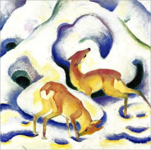 Posterlounge Acrylglasbild 60 x 60 cm: Rehe im Schnee von Franz Marc - Wandbild, Acryl Glasbild, Druck auf Acryl Glas Bild