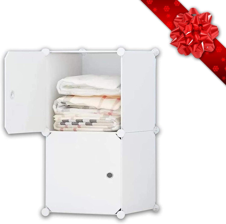 12 W/ürfel platzsparender Armoire iBlockCube DIY Tragbarer Kleiderschrank modularer Aufbewahrungs-Organizer tiefer W/ürfel mit H/ängestange 12 Cubes