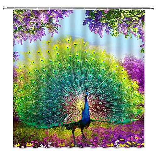 Jingjiji Fantasy Forest Shower Curtain Watercolor Peacock Feather Animal Colorful Wonderland Flowers Spring Scenery Bathroom Decoration Curtains Polyester Fabric with Hook (Green, 70 X 70 Inch)