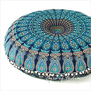 "EYES OF INDIA - 32"" Blue Mandala Large Floor Pillow Cover Meditation Cushion Seating Throw Hippie Round Colorful Decorativ..."