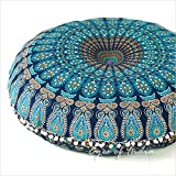 Eyes of India - 32' Blue Mandala Large Floor Pillow Cover Meditation Cushion Seating Throw Hippie Round Colorful Decorative Bohemian Boho Dog Bed Indian Pouf Ottoman Cover ONLY