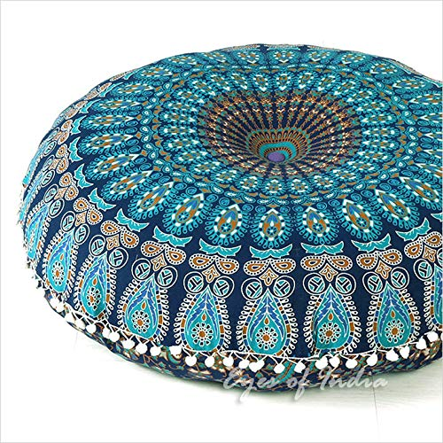 "Eyes of India - 32"" Blue Mandala Large Floor Pillow Cover Meditation Cushion Seating Throw Hippi"
