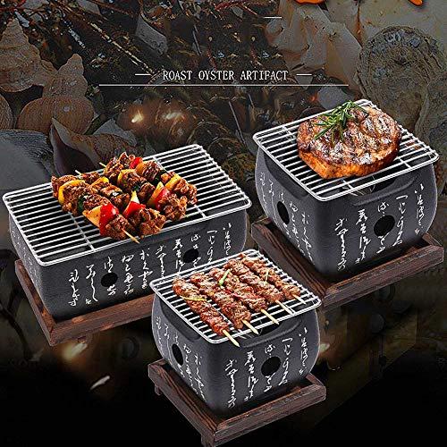 HHY BBQ-Tischgrill, traditioneller japanischer Hibachi-Tischgrill, tragbarer Grillofen Holzkohleofen mit Antihaft-Backblech 24 * 13 * 12cm(Large)