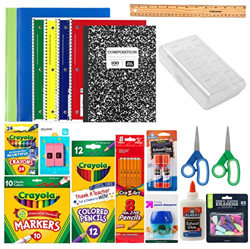 Back to School Essentials Supplies Pack Kit Bundle - Grades K-8   Wide Ruled Notebooks Composition Book Folders Markers Crayons Colored Pencil Sharpener Scissors Glue Sticks Pencil Case (for Boys)