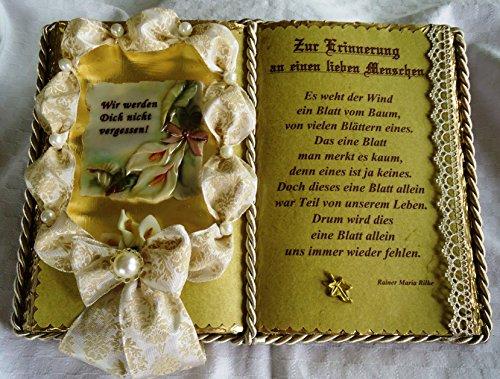 Trauerbuch-Gedenkbuch-Schmuckbuch-Geschenkbuch (mit Holz-Buchständer)