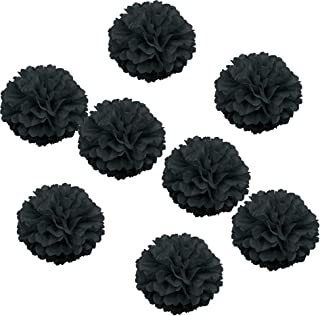 X-Sunshine Party Pom Poms Tissue Paper Flower 8pcs 12 inch Decorative Hanging Flower Balls Craft DIY Decoration for Home Wedding, Baby Shower, Birthday, Party Decorations (12inch-8pcs, Black)