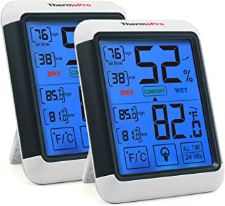 ThermoPro TP55 2 Pieces Digital Hygrometer Indoor Thermometer Humidity Gauge with Jumbo..